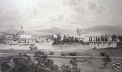 Alphonse Jacques Levy View Of French Village Drawing