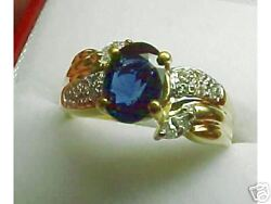 Gorgeous Natural Blue Sapphire And Diamond Ring New 18k