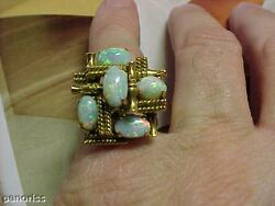 Top Quality Antique Fire Opal Ring 18k Gold Size 8.5