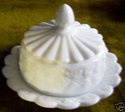 Westmoreland Glass Paneled Grape Milk Glass Cheese Or Butter Dish And Cover