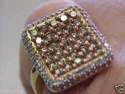 Unisex Brown And White Diamond Ring Size 7 Make Offer