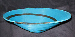 Simple Teal And Black Spiral Handmade African Zulu Telephone Wire Basket/platter L