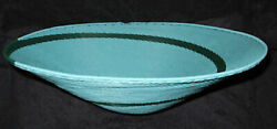 Simple Sky Blue And Green Spiral African Zulu Telephone Wire Basket/platter L