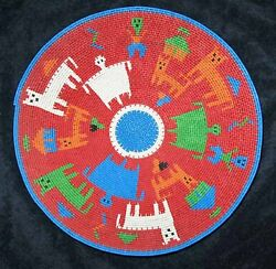 People, Huts, Animals And Turtles African Zulu Telephone Wire Story Basket/plate