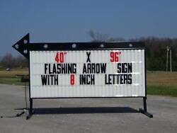 New Flashing Portable Outdoor Lighted Arrow Business Sign W/ 8 Letters 40x96
