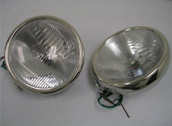 1932 Ford Stainless 12 Volt H4 Halogen Head Lamps 32 Headlights Glass Lens 10