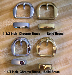 Belt Buckle Sets Solid Brass & Chrome Gold or Silver Color 1 12