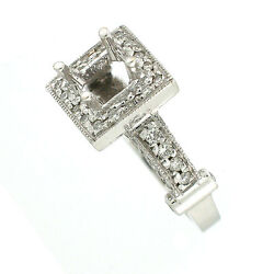 14k Antique Style Semi Mount Diamond Engagement Ring Setting 0.71 Cts 5x5mm/6mm