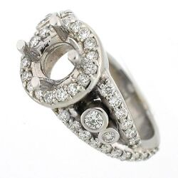 14k Antique Style Diamond Semi Mount Engagement Ring Setting 1.19 Cts Si1- G