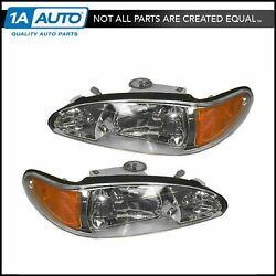 Headlights Headlamps Left & Right Pair Set NEW for 98-02 Ford Escort Tracer