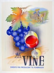 Vine Wine Poster From 1939 With Art By B. Pramvig Original Linen Mounted