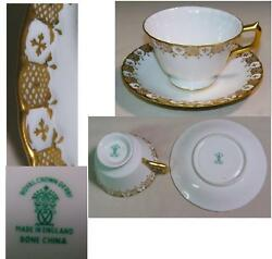 Heraldic Gold Footed Tea Cup And Saucer By Royal Crown Derby