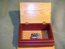 Romance Music Jewelry Box Hand Crafted Solid Oak Wood 1/2 Painted Red Swiss