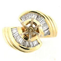 Solid 14k Yellow Gold Semi Mount Diamond Ring Setting 1.25 Tcw- Round For 1ct