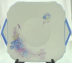 Unknown Art Deco Blue Flowers 506 Square Cake Plate By Shelley England