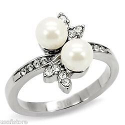 Double White Pearl With Crystal Silver Stainless Steel Ladies Ring New