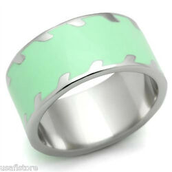 Apple Green 10mm Wide Band Silver Stainless Steel Ladies Ring New