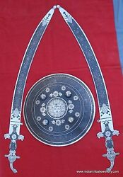 ANTIQUE DESIGN SILVER WORK SWORD SHIELD INDIA