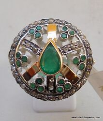 Victorian Diamond Emerald 14k Gold Sterling Silver Cocktail Ring Handmade India