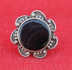 ETHNIC SILVER BLACK ONYX GEM STONE RING INDIA