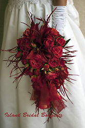 APPLE RED BRIDE WEDDING BOUQUET Red Roses Stargazer Lily 13 Piece Custom Design