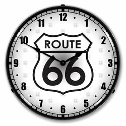New Route 66 Highway Retro Advertising Backlit Lighted Clock - Free Shipping