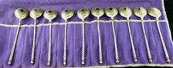 Twist Handle Picture Back Set Of 10 Spoons Gold Washed Russia 1870 Moscow H A