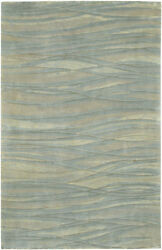 4x6 Surya Hand Knotted Wool Blue Stripes 7406 Area Rug - Approx 4and039 X 6and039