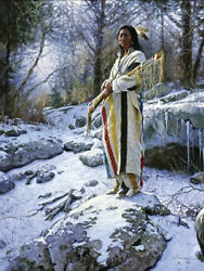 Apsaroke Guardian By Martin Grelle Native American Sn Le Canvas Giclee