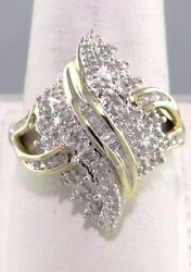 Genuine .25ct Diamond Cluster Ring Marquise Shaped 24 Mm, 10k Y Gold No Scrap