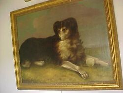 19THC ENGLISH OIL PAINTING OF A DOG WITH BALL LARGE!!