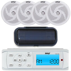 Pyle Plmr14bw Marine Mp3 Am/fm Radio Receiver With Cover, 4x 4 White Speakers