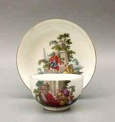 Early 18thc Meissen Hp Cup And Saucer C.1750