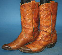 Vintage 60s Wrangler Brown Leather Flat Top Two-tone Cowboy Womens Boots Sz 5.5