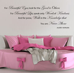 Audrey Hepburn Wall Stickers Quotes Beautiful Eye Decals W32