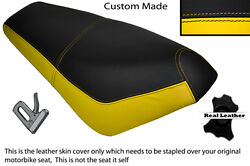 Black And Yellow Custom Fits Suzuki Ap 50 Scooter Leather Dual Seat Cover