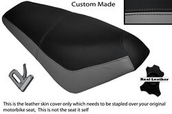 Black And Grey Custom Fits Suzuki Ap 50 Scooter Leather Dual Seat Cover