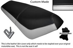Black And White Custom Fits Suzuki Ap 50 Scooter Leather Dual Seat Cover