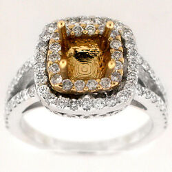 1.15 Ct G-si1 Round 14k White Gold Two Tone Cathedral Setting Engagement Ring