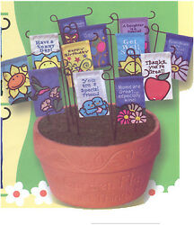 Set Of 36 Mini Garden Flags With One Pot-12 Different Designs-for Flower Pots