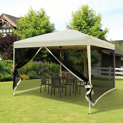 Outdoor Gazebo Canopy 10and039x10and039 Pop Up Party Tent Mesh Mosquito Net Patio Tan
