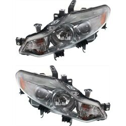 Headlight Set For 2009-2014 Nissan Murano Left And Right With Bulb 2pc