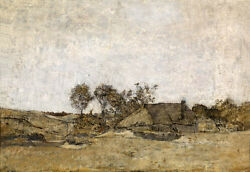 Oil Painting Impressionism Landscape With Farmer's House And Creek On Canvas