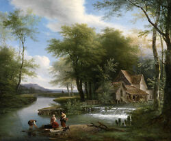 Great Art Oil Painting Nice River Around The Farmer's House And Women Washing