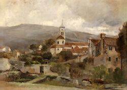 Art Oil Painting Village Landscape With Farmer's House And Church On Canvas 36