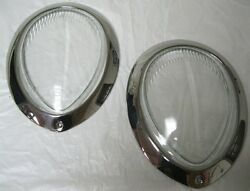 1939 Ford Deluxe Clear Glass Headlight Lens + Stainless Headlamp Ring Combo Pair