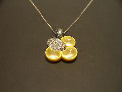 Fine Four Leaf Clover 14k White Gold Diamond Mother Of Pearl Pendant Necklace