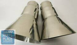 68-72 Cutlass 442 Trumpet Tail Pipe Exhaust Extensions Pr Stainless - 2