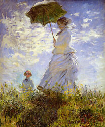 Oil Painting Claude Monet The Woman With The Parasol Child No Framed Canvas 36