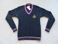 Sequin Cc Logo Embroidered Preppy Cable Knit Jumper Pullover Top 42 12a